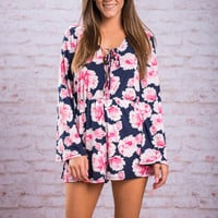 How Could You Say No Romper, Navy-Pink