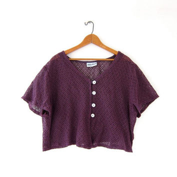 vintage cut out top. sheer cropped shirt. button front crochet top. oversized t shirt. seashell buttons