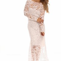WHITE WIDE NECKLINE LONG SLEEVES FLORAL LACE MAXI DRESS