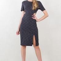 Side Cut Outs Stretch Knit Midi Dress - Heathered Charcoal