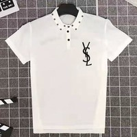 YSL 2019 new wild POLO shirt stand collar short-sleeved T-shirt