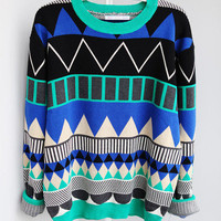 CUTE GEOMETRIC PATTERN KNITTED SWEATER