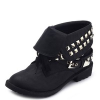 Studded Double Buckle Combat Bootie: Charlotte Russe
