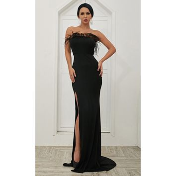 Don't Go Black Strapless Stretchy Feather Trim Fringe High Front Slit Bodycon Mermaid Maxi Dress