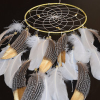 Large  Gold and White Dream catcher, Wall Hanging Boho Dreamcatcher, Pheasant Feathers, Wall Decor Gold Bohemian