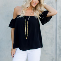 Shoulders Out For The Dawgs Top - Black