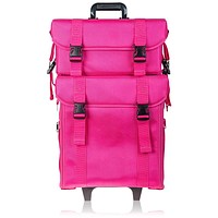 Soft Makeup Artist Rolling Trolley Cosmetic Case with Free Set of Mesh Bag