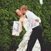 Wedding Photo Prop Thank You Wooden Boards Great by limitedlane