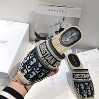 Dior new embroidered fisherman slippers shoes