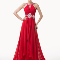 Red Halter Keyhole Cutout Beaded Ruffled Evening Dress