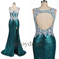 Custom Applique Beaded Sequins Lace Long Prom Dresses Open Back See Through Evening Gowns Cocktail Dresses New Party Dress Fashion Dress