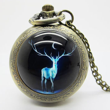 Vintage Glass Pocket Watch Necklace / Deer  Pocket Watch Necklace  - Buy 3 Get 4th One Free PW114