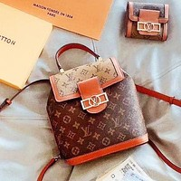 elainse29 LV Two Piece Set New Daphne Set Backpack + Wallet Two Piece Large Metal Logo LV Letter Brown