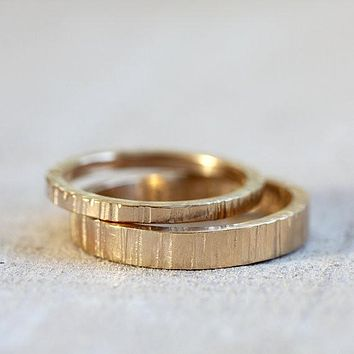 Solid 14k Gold Tree bark wedding ring set