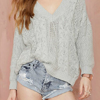Grey V Neck Long Sleeve Knit Sweater