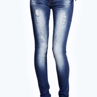 Evie Low Rise Distressed Super SKinny Jeans