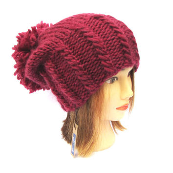 Slouchy beanie hat dark rose chunky knit hat wool wine knitted hat with large pom pom - hand knit slouch hat designer hat for women teenager