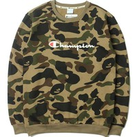 BAPE x Champion Ape Men Camo Sweater M-XXL