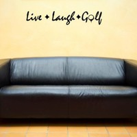 LIVE LAUGH GOLF Vinyl wall lettering stickers quotes and sayings home art dec...