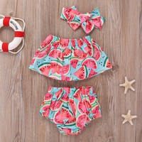 Toddler Girls Watermelon Print Top & Shorts & Headband