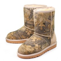 UGG Winter Warm New Leather Fashion Print Women Medium Boots Anti-Skid Boots Shoe I