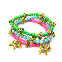 Little Girl Bracelets Dog Charm Bracelet Toddler Bracelets Beaded Bracelet Set Stretch Bracelet Green Turquoise Pink Little Girls Gift