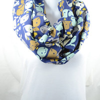 Happy Whales Infinity Scarf - 100% Cotton - Pre-washed Pre-shrunk - Handmade - Easy Care