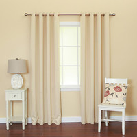 "Basic Solid Grommet Thermal Insulated Blackout Curtains 104""""W X 108""""L Pair - Beige"