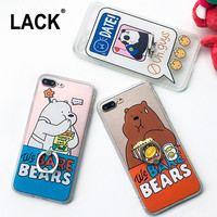 Funny Foodie Animal Case For iphone 7 Case Cute Cartoon Bear Panda Cover Ring Grip Phone Cases For iphone7 6 6S / Plus 5 5S Capa -0316