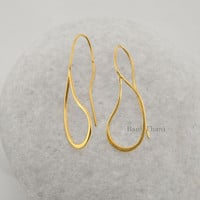 Handcrafted Designer wired micron Gold Plated 925 Sterling Silver Dangle Earring Jewelry - #1582