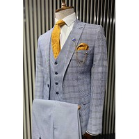 Checked Blue Vested Suit Set