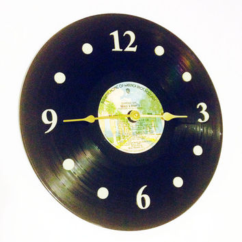 "Clock, Record Clock, Vinyl Record Clock, Wall Clock, Seals and Crofts Record, Recycled, 12"" Record, Battery & Wall Hanger included, Item #86"