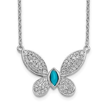 14k White Gold Real Diamond and Turquoise Butterfly Necklace