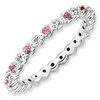 Pink Tourmaline and Diamond Stackable Ring 1/20ctw
