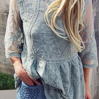 Tainted Rose Lace Top in Sage