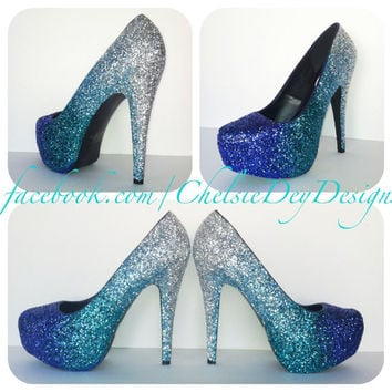 Faded Blues Glitter High Heels