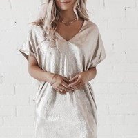 Cheers To You Gold Mini V-Neck Dress