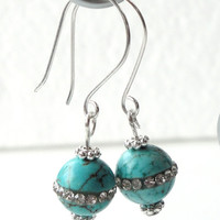 Blue Turquoise Inlaid Clear Rhinestone Silver Earrings,  Blue Gemstone Sterling Silver Dangles, Bridesmaid, Birthday Gift