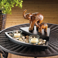 Carved Elephant Family Tealight Candle Set