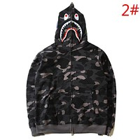 Bape Aape Autumn And Winter Fashion New Eye Shark Tiger Print Camouflage Women Men Hooded Long Sleeve Sweater Coat
