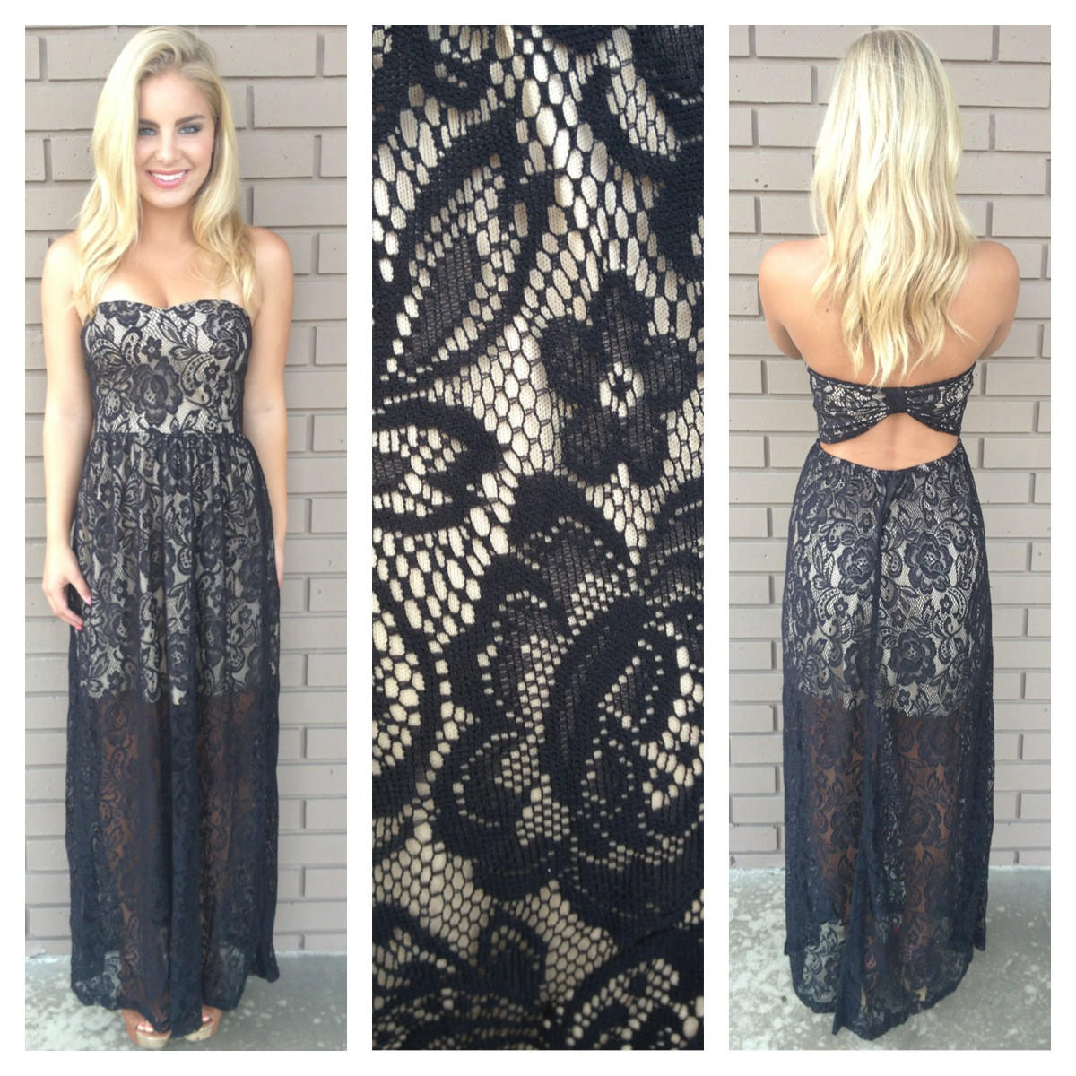 Image of Black Franchesca Lace Maxi Dress