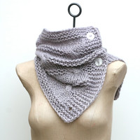 Ready to Ship: Silvery Lavender Hand Knit 100% Baby Alpaca Wool Cable Infinity Scarf, Cowl, Caplet, Shoulder Wrap with Buttons