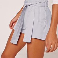 Missguided - Tie Waist Short Grey