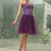 Simple Best-selling Handmad crystal beaded purple sweetheart zipper Short Prom/Evening/Party/Bridesmaid/Cocktail/Homecoming Dress Gown