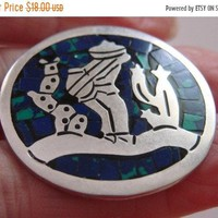 Taxco Mexico Sterling Silver Turquoise Brooch * Signed TL 119 * Vintage Jewelry