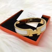 BNIB NEW HERMES CLIC H CLAC ENAMEL BANGLE BRACELET WHITE YELLOW GOLD PLATED GM