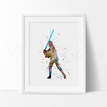 Luke Skywalker Watercolor Art Print