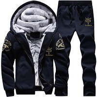 2018 Tracksuit Men's set Winter Running Two Piece Sets Cotton Inner Fleece Thick Hooded 2PC Jacket Pants Sport Jogging Suits