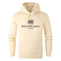 Balenciaga Autumn And Winter Fashion New Letter Print Women Men Hooded Long Sleeve Top Sweater Beige&Yellow