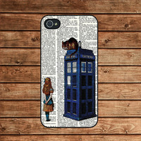 Alice and the Cheshire Cat On Dr Who Tardis--iphone 4 case,iphone 4s case,iphone 4 cover,in plastic or silicone case